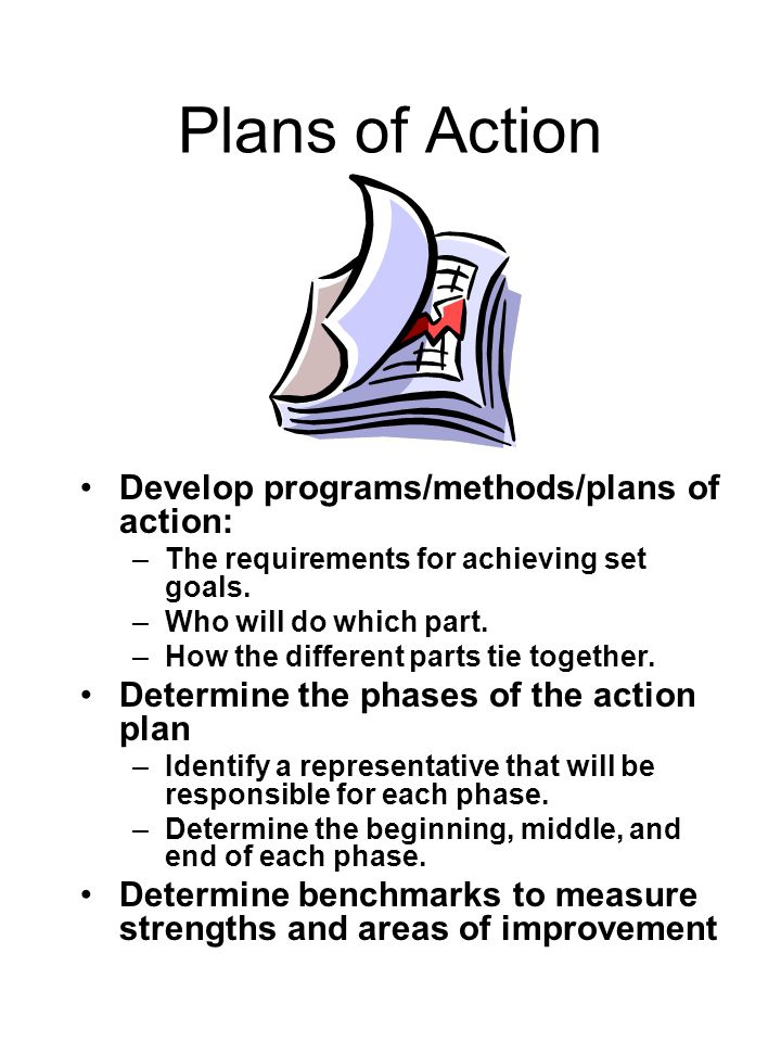 Plans of Action Develop programs/methods/plans of action: