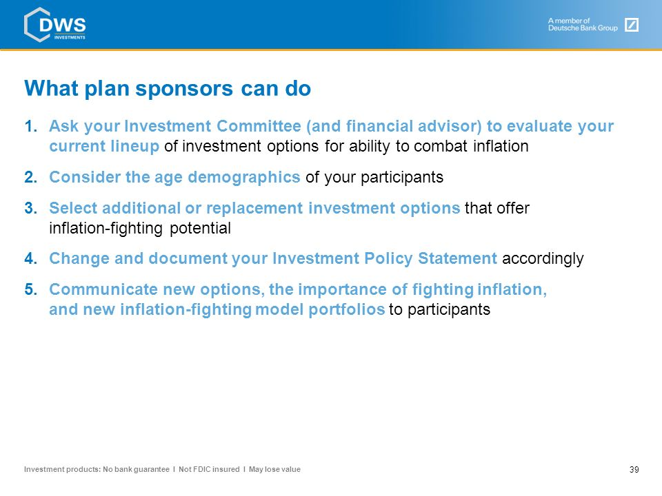 What plan sponsors can do