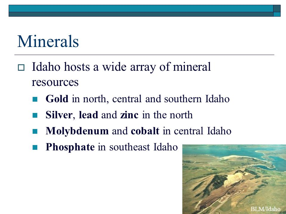 Minerals Idaho hosts a wide array of mineral resources