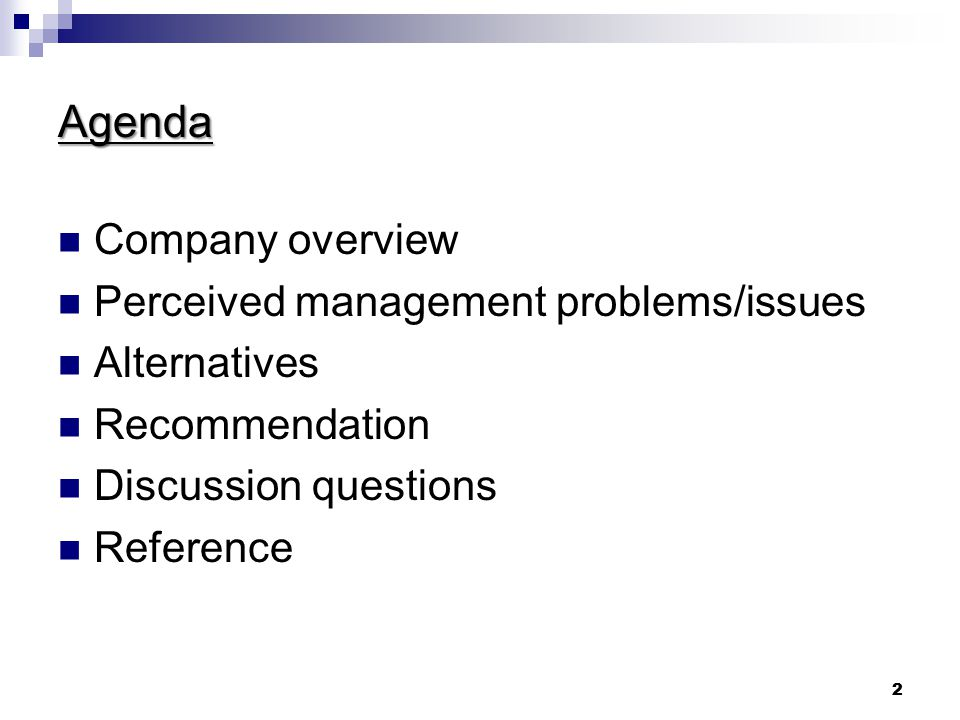 Agenda Company overview Perceived management problems/issues