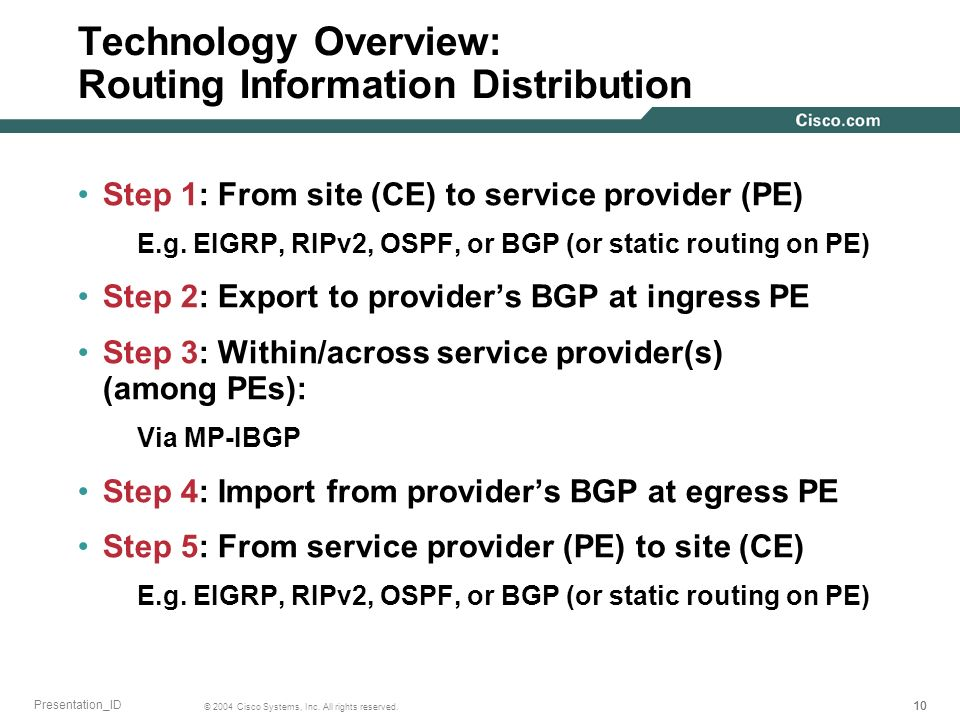 Technology Overview: Routing Information Distribution