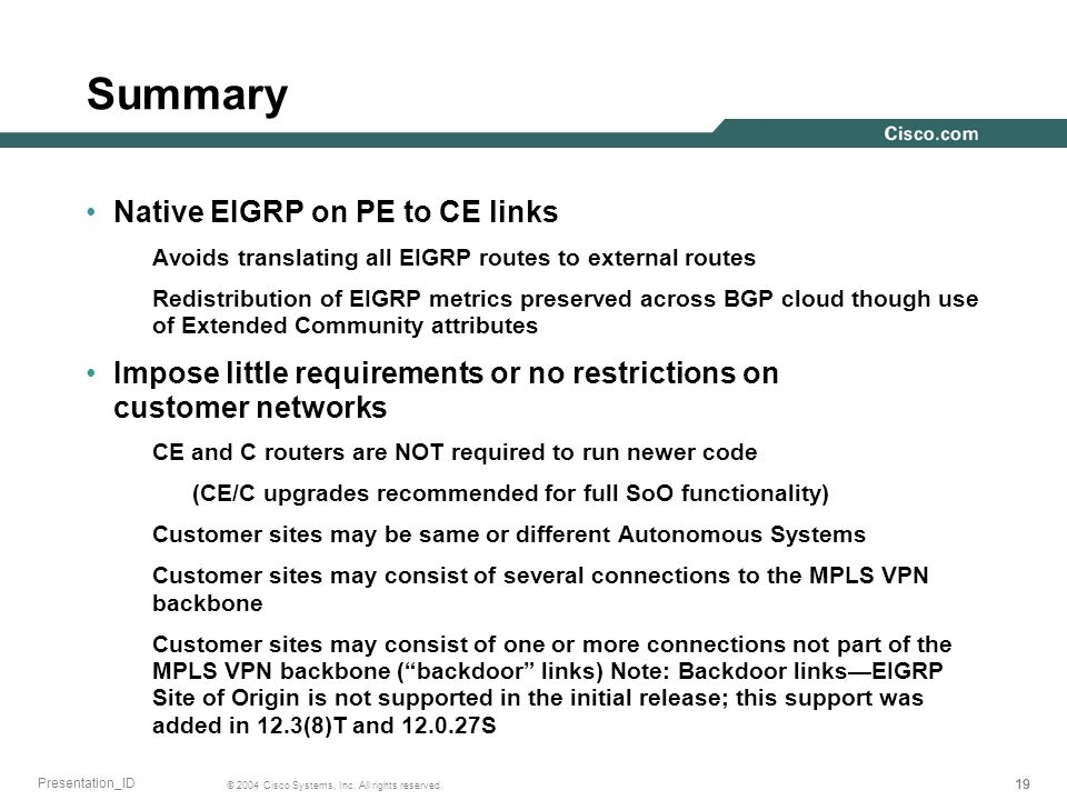 Summary Native EIGRP on PE to CE links
