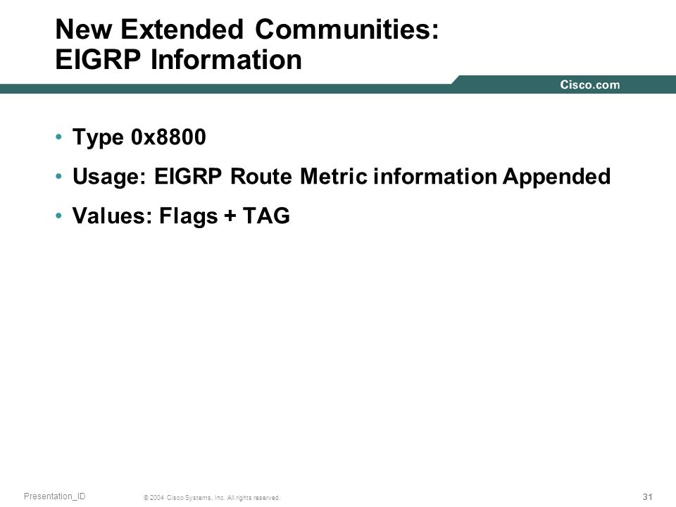 New Extended Communities: EIGRP Information