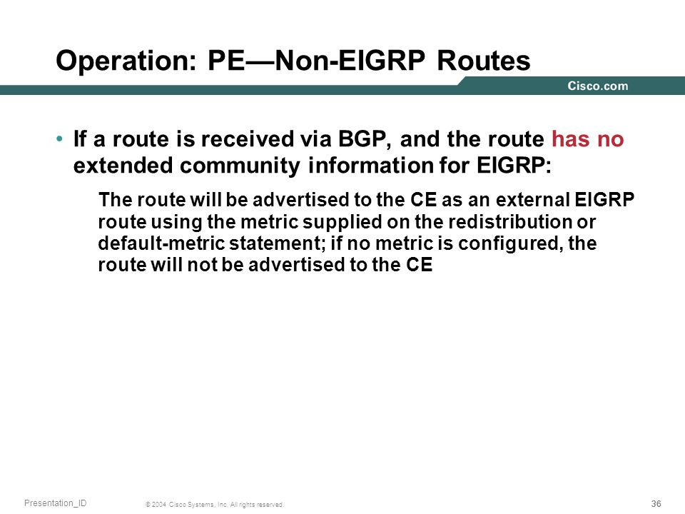 Operation: PE—Non-EIGRP Routes