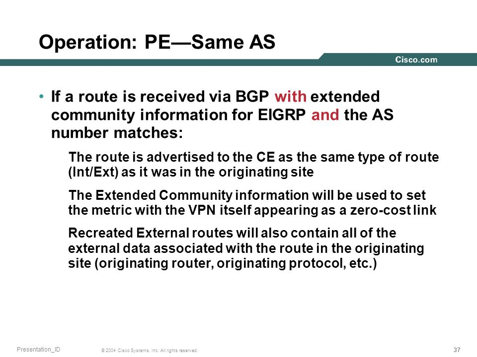 Operation: PE—Same AS If a route is received via BGP with extended community information for EIGRP and the AS number matches: