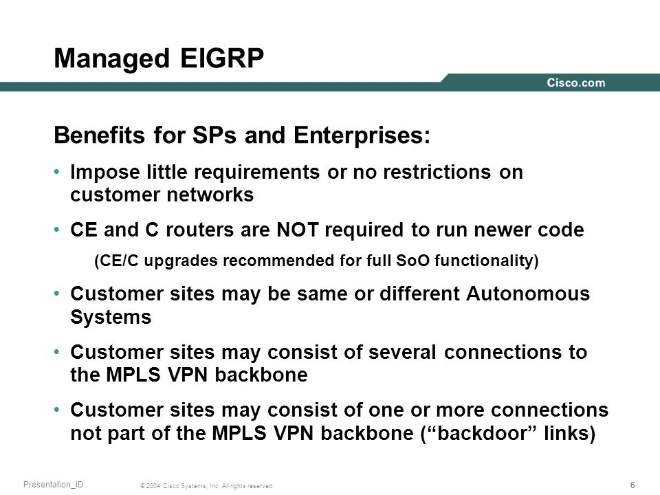 Managed EIGRP Benefits for SPs and Enterprises: