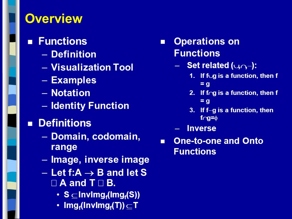 Overview Functions Definitions Operations on Functions Definition
