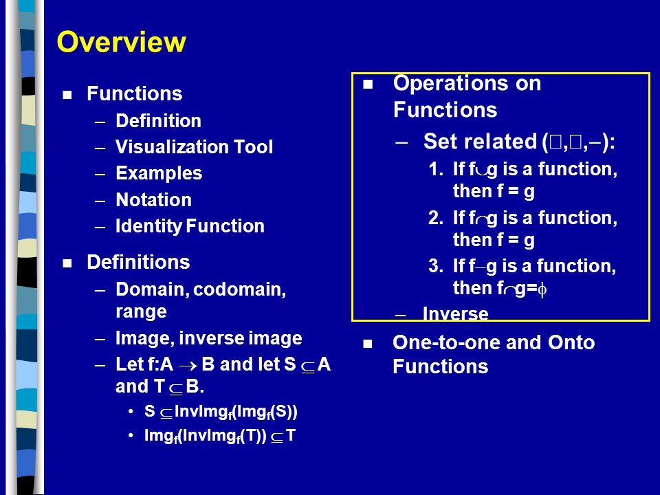 Overview Operations on Functions Set related (È,Ç,-): Functions