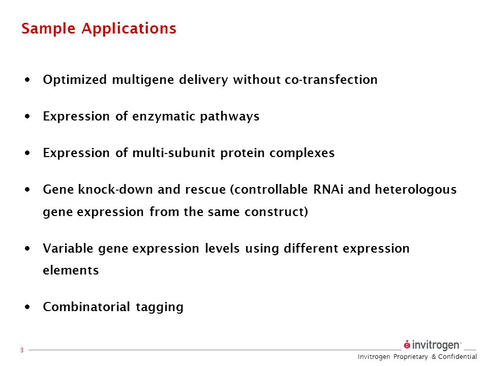 Sample Applications Optimized multigene delivery without co-transfection. Expression of enzymatic pathways.