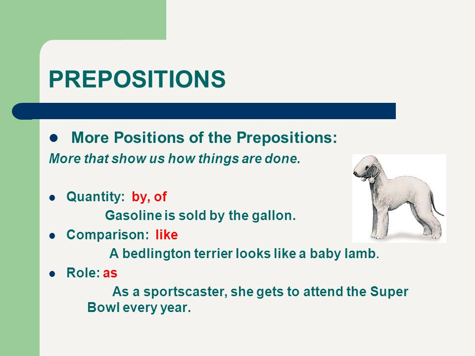 PREPOSITIONS More Positions of the Prepositions: