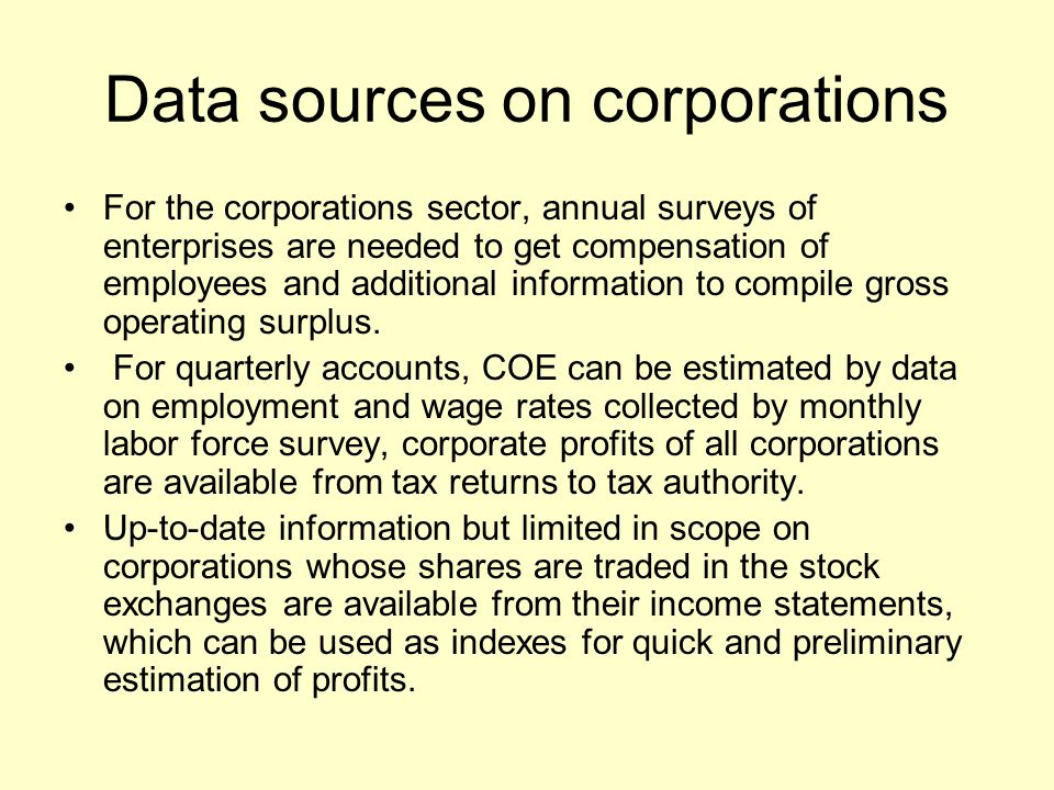 Data sources on corporations