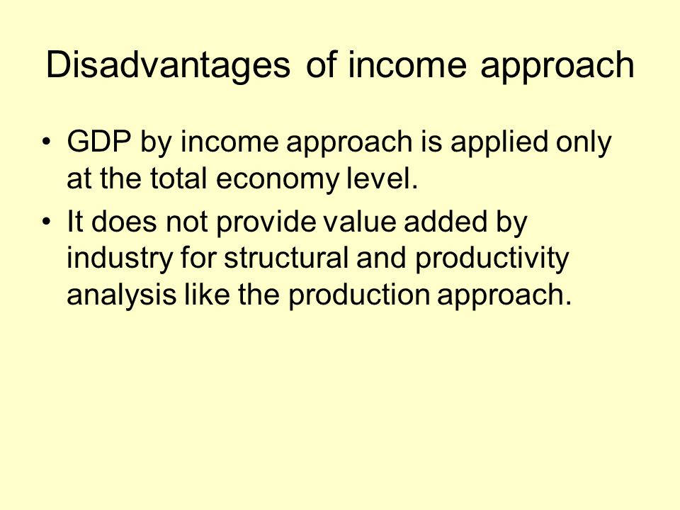 Disadvantages of income approach