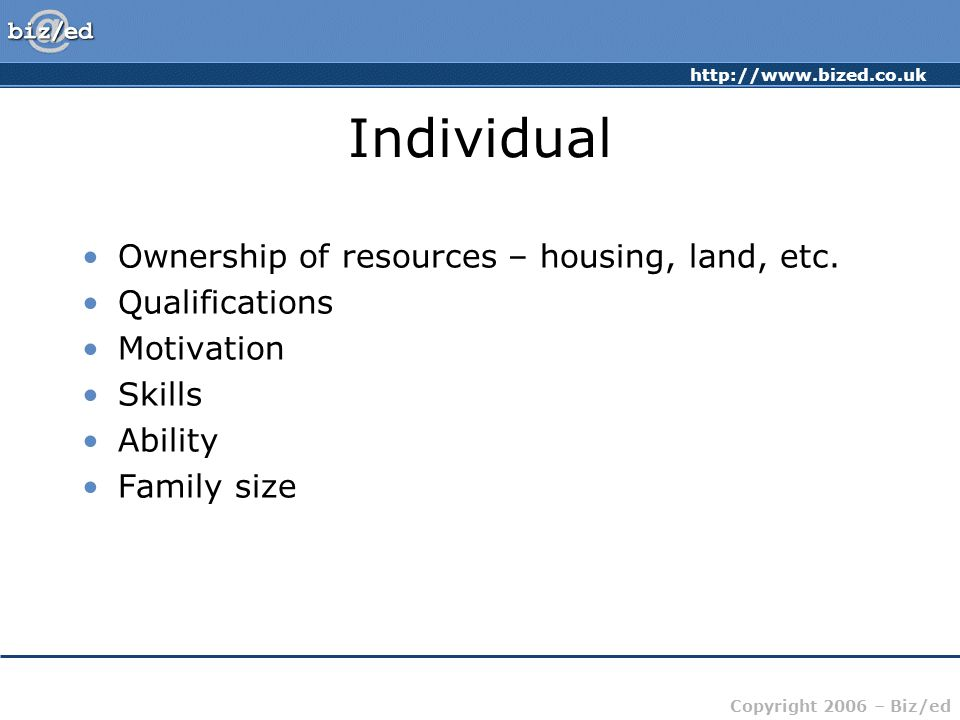Individual Ownership of resources – housing, land, etc. Qualifications