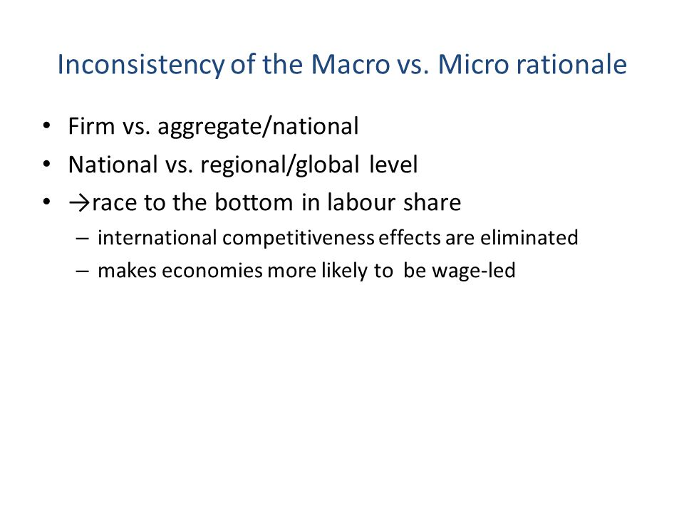 Inconsistency of the Macro vs. Micro rationale
