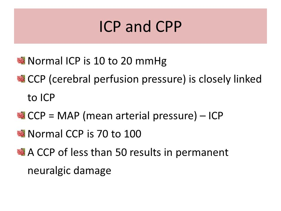 ICP and CPP Normal ICP is 10 to 20 mmHg
