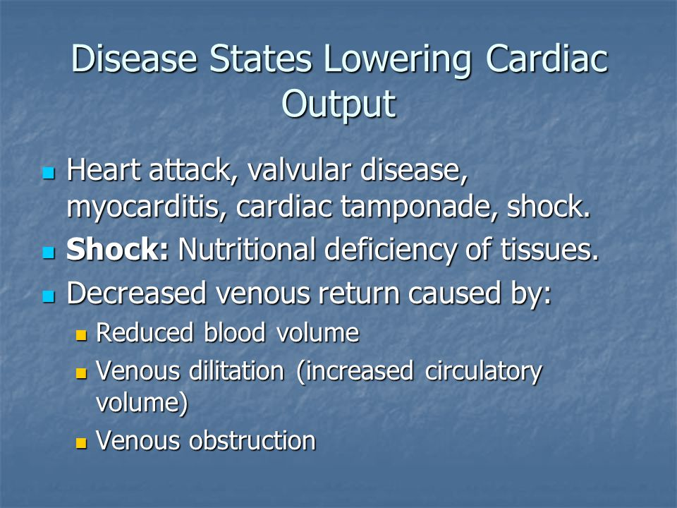 Disease States Lowering Cardiac Output