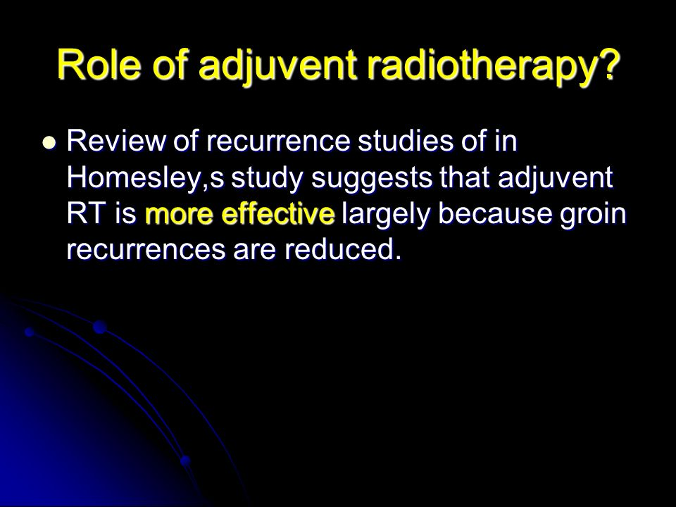Role of adjuvent radiotherapy