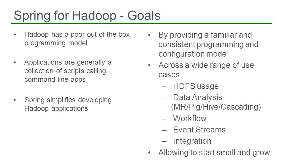 Spring for Hadoop - Goals