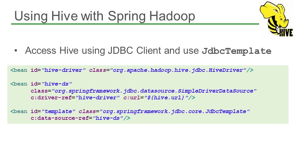 Using Hive with Spring Hadoop
