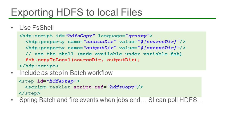 Exporting HDFS to local Files
