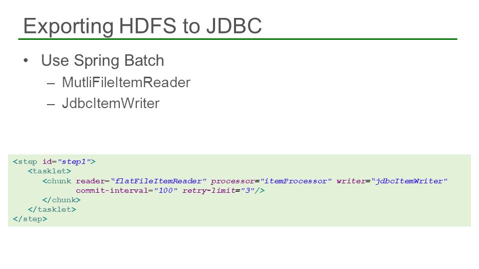 Exporting HDFS to JDBC Use Spring Batch MutliFileItemReader