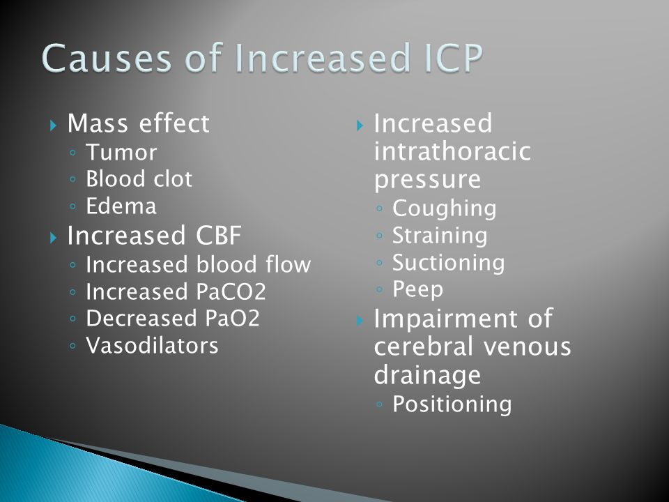 Causes of Increased ICP