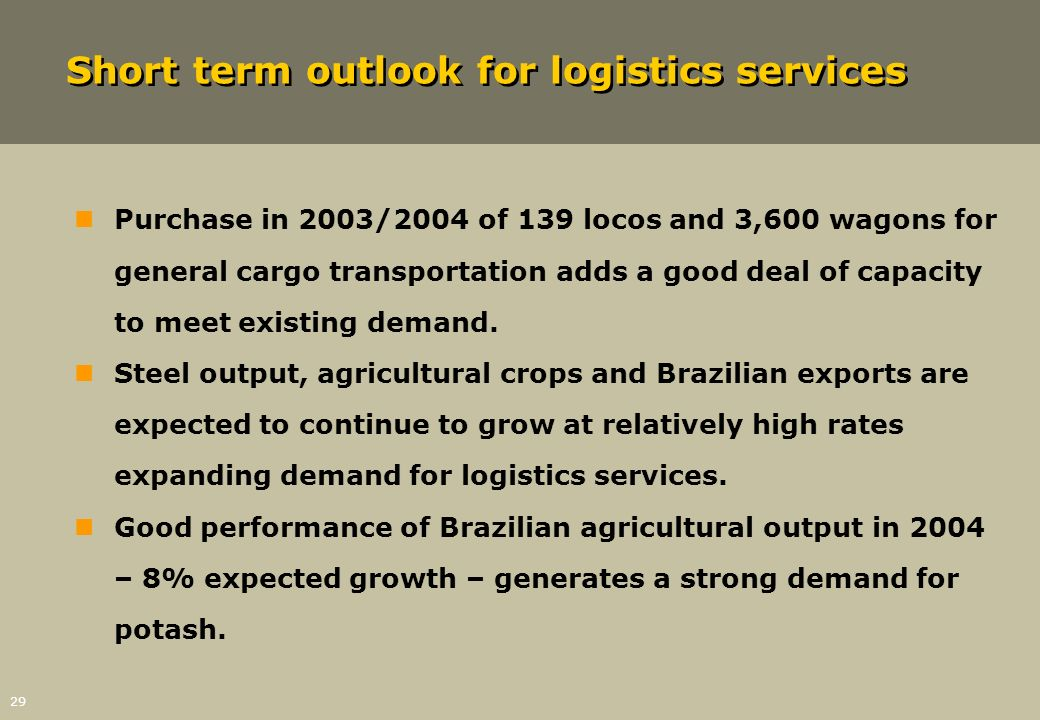 Short term outlook for logistics services