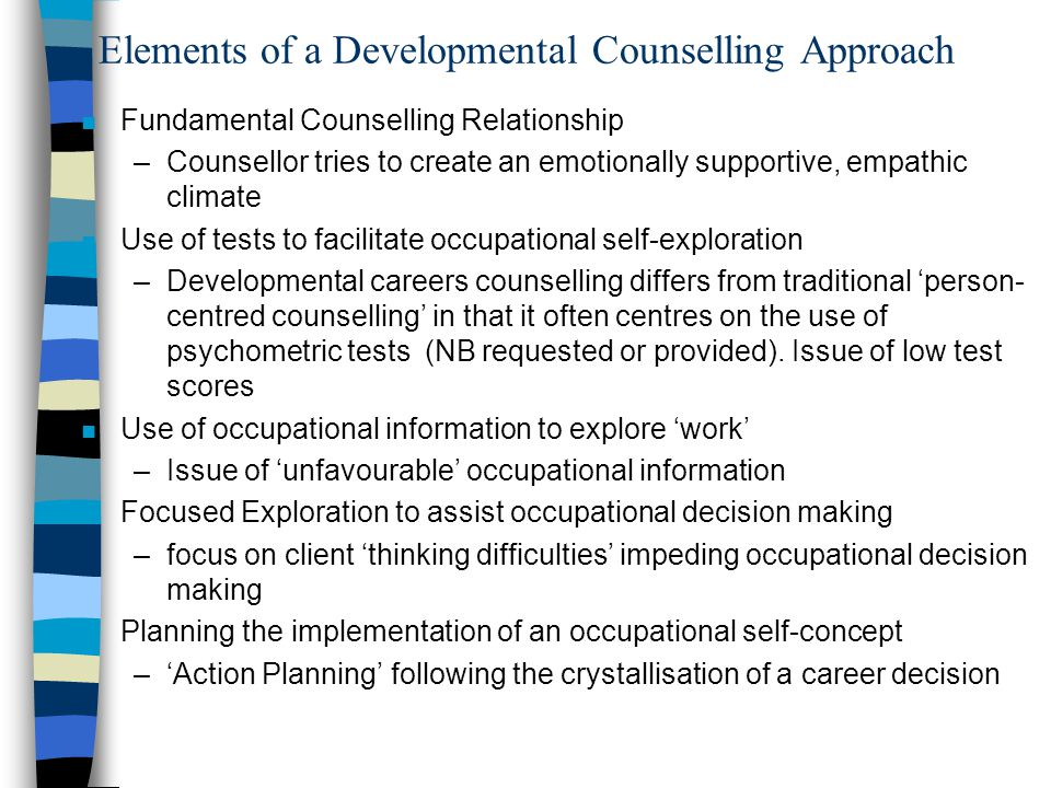 Elements of a Developmental Counselling Approach