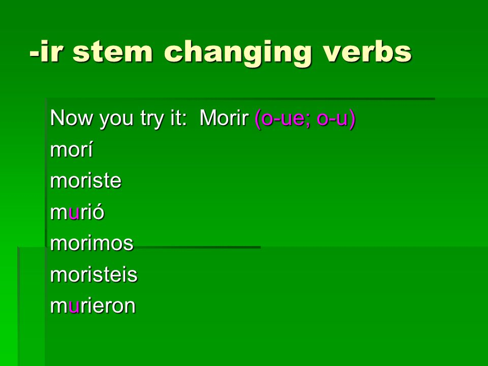 -ir stem changing verbs