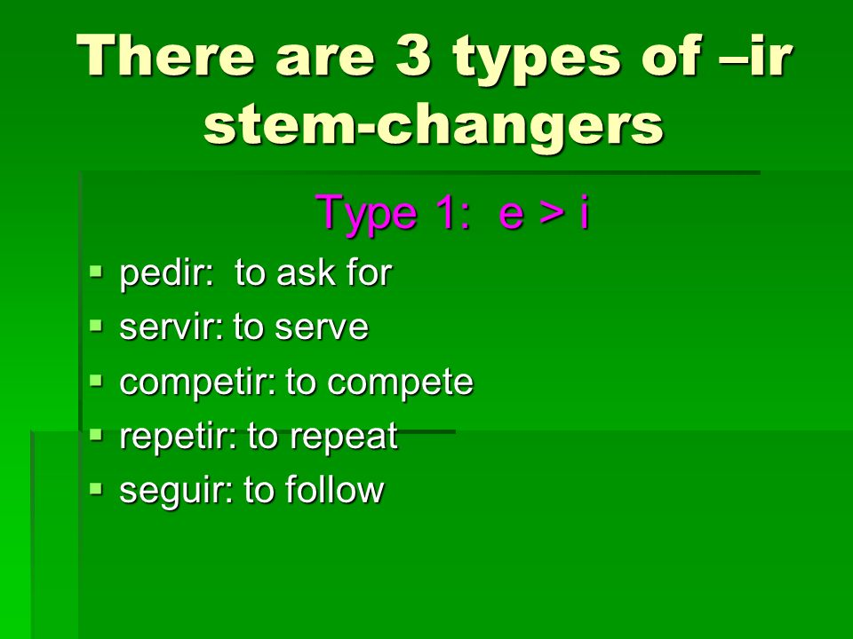 There are 3 types of –ir stem-changers