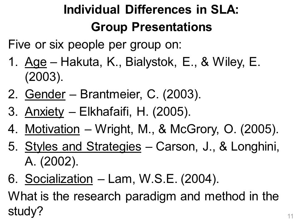 Individual Differences in SLA: