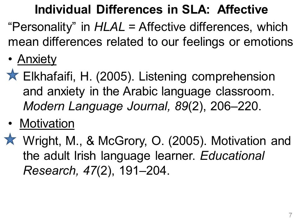 Individual Differences in SLA: Affective