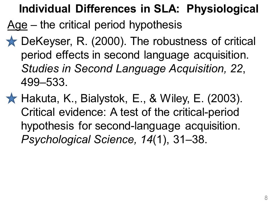 Individual Differences in SLA: Physiological