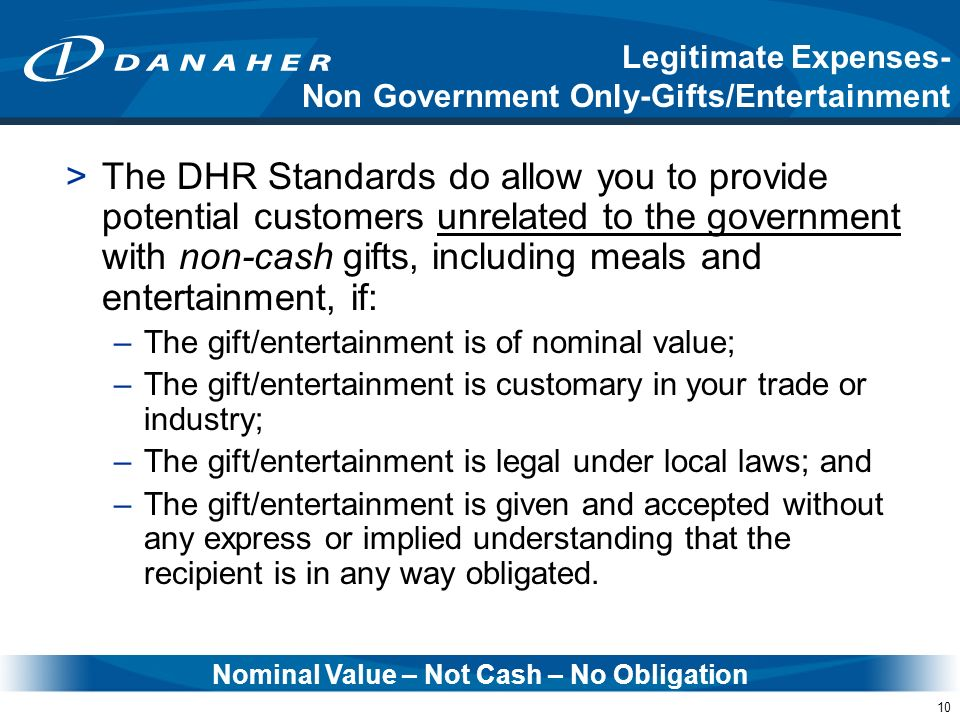Nominal Value – Not Cash – No Obligation