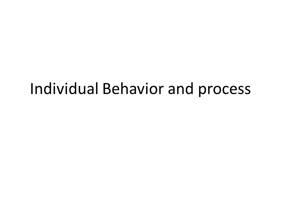 Individual Behavior and process