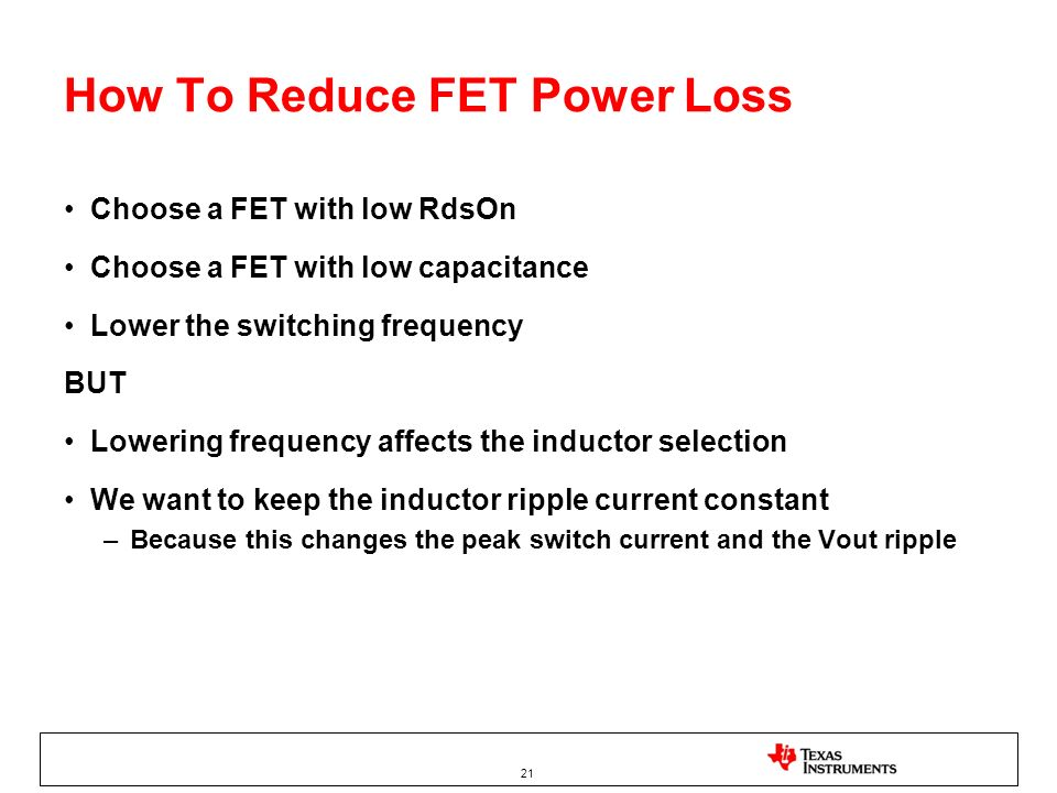 How To Reduce FET Power Loss
