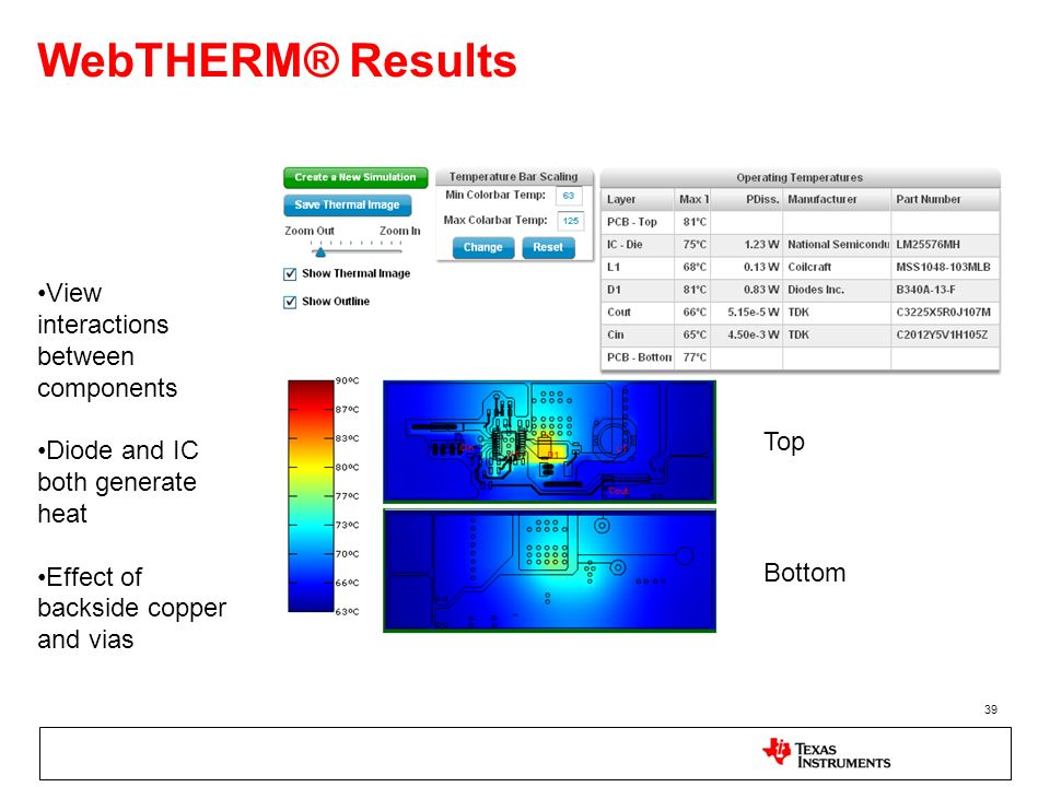 WebTHERM® Results View interactions between components