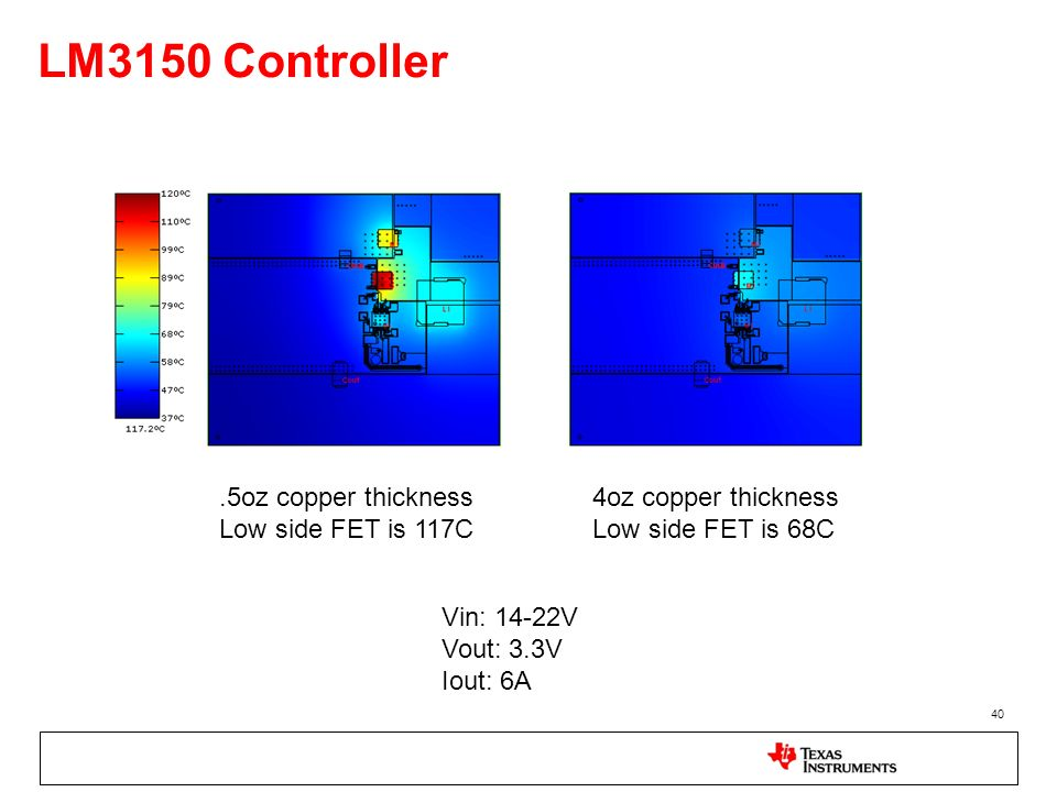 LM3150 Controller .5oz copper thickness Low side FET is 117C
