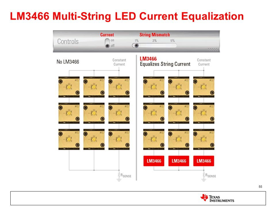 LM3466 Multi-String LED Current Equalization