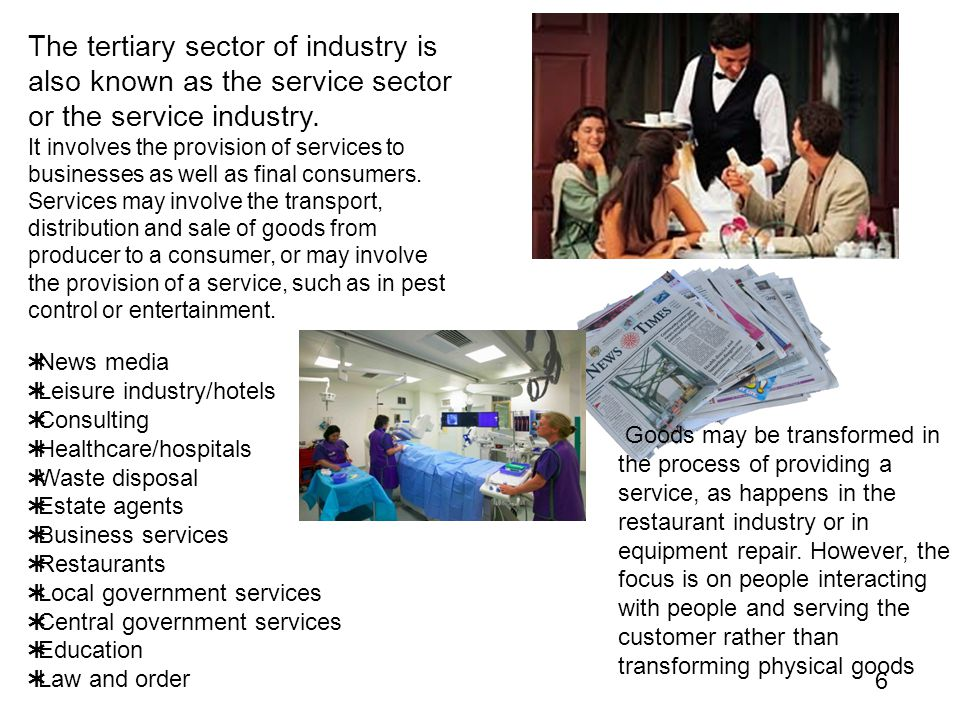 The tertiary sector of industry is also known as the service sector or the service industry.