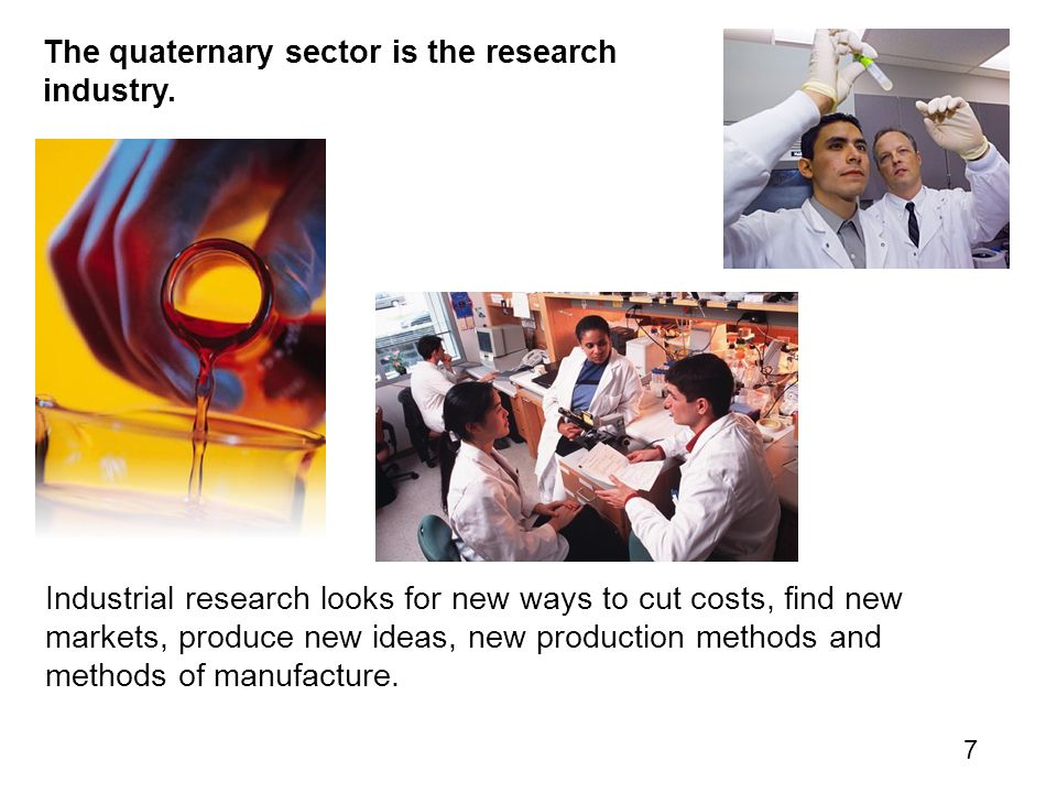 The quaternary sector is the research industry.