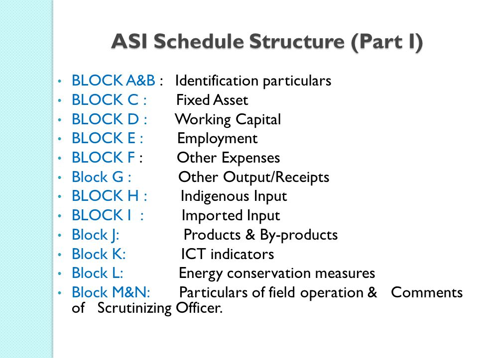 ASI Schedule Structure (Part I)
