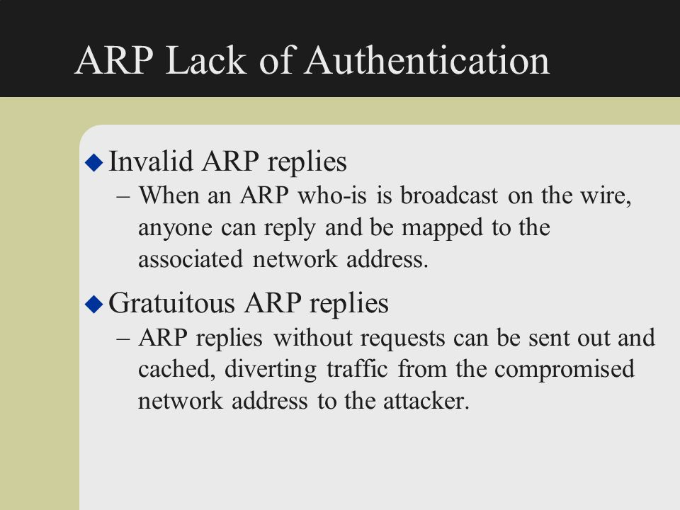 ARP Lack of Authentication