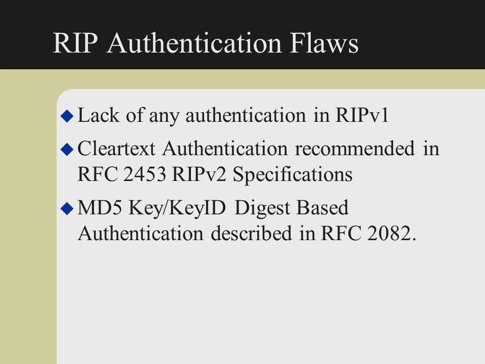 RIP Authentication Flaws
