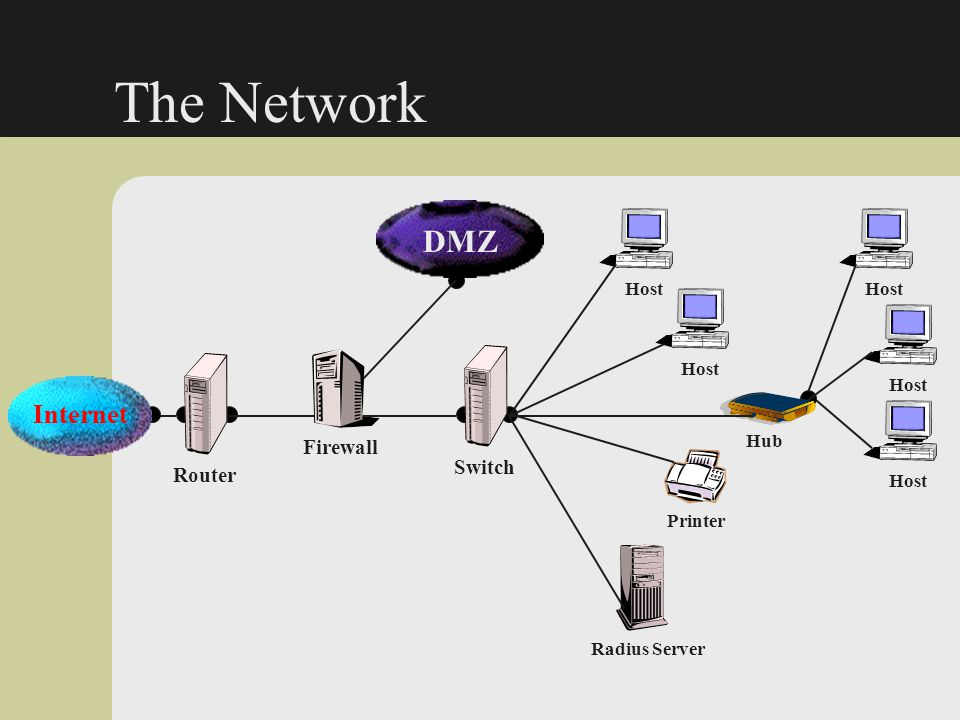 The Network DMZ Internet Firewall Switch Router Host Host Host Host