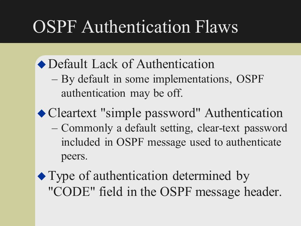 OSPF Authentication Flaws