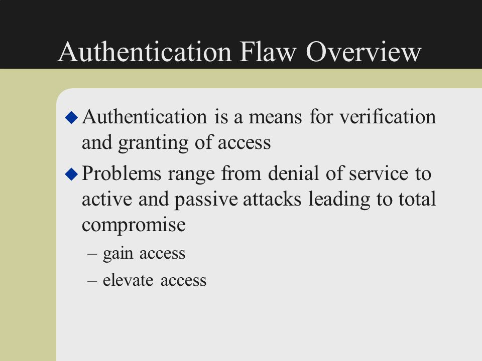 Authentication Flaw Overview