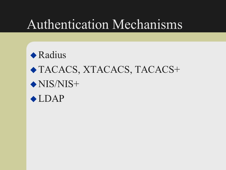 Authentication Mechanisms