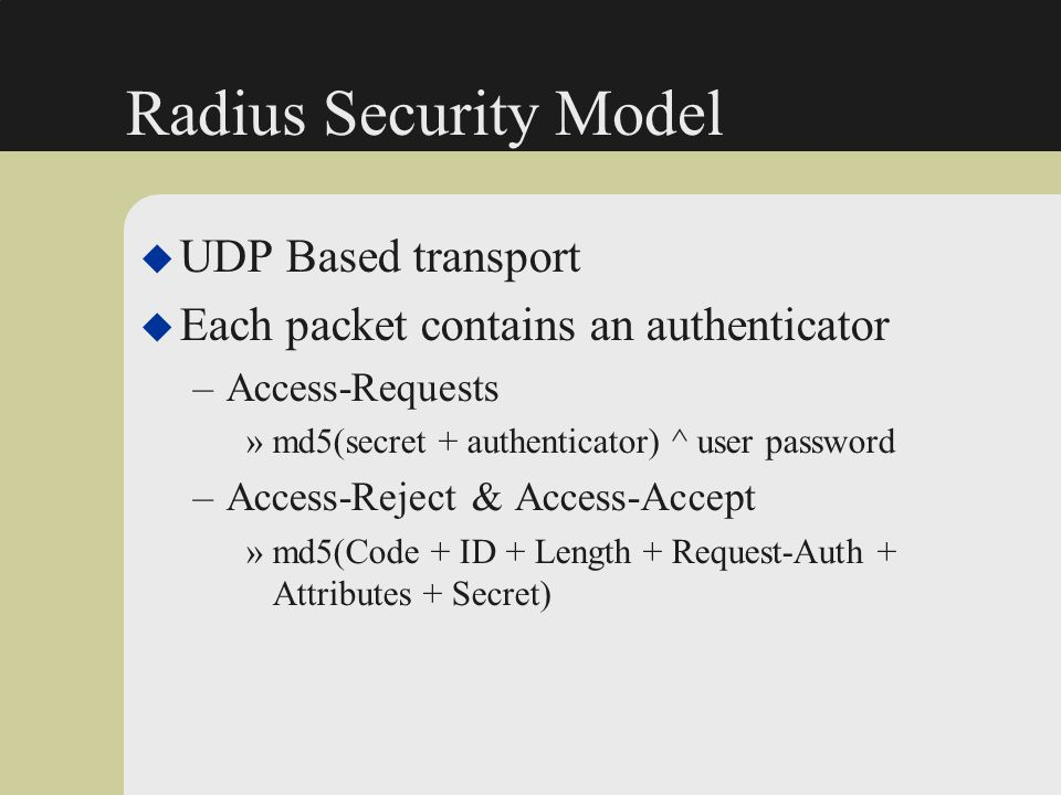 Radius Security Model UDP Based transport