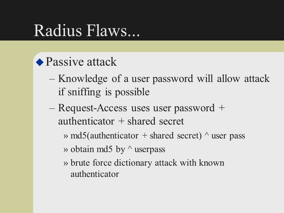 Radius Flaws... Passive attack